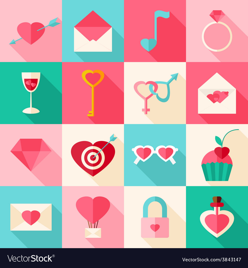 Valentine day flat icons with long shadow vector | Price: 1 Credit (USD $1)