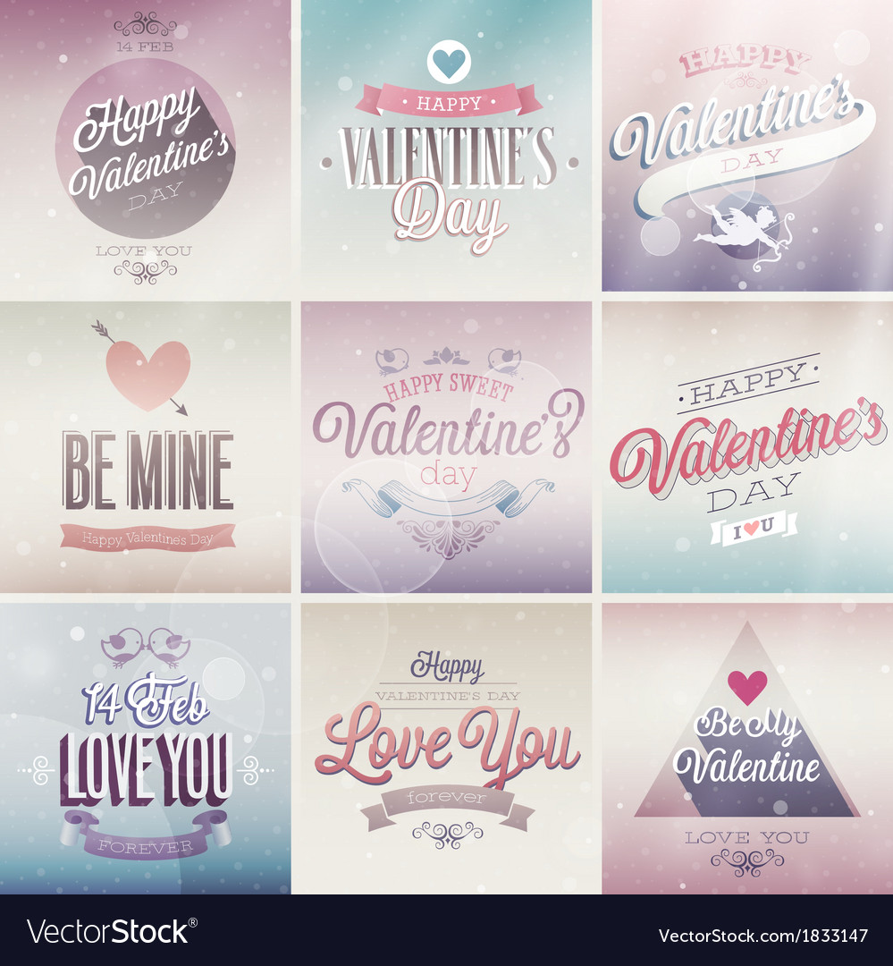 Valentine emblems light vector | Price: 1 Credit (USD $1)