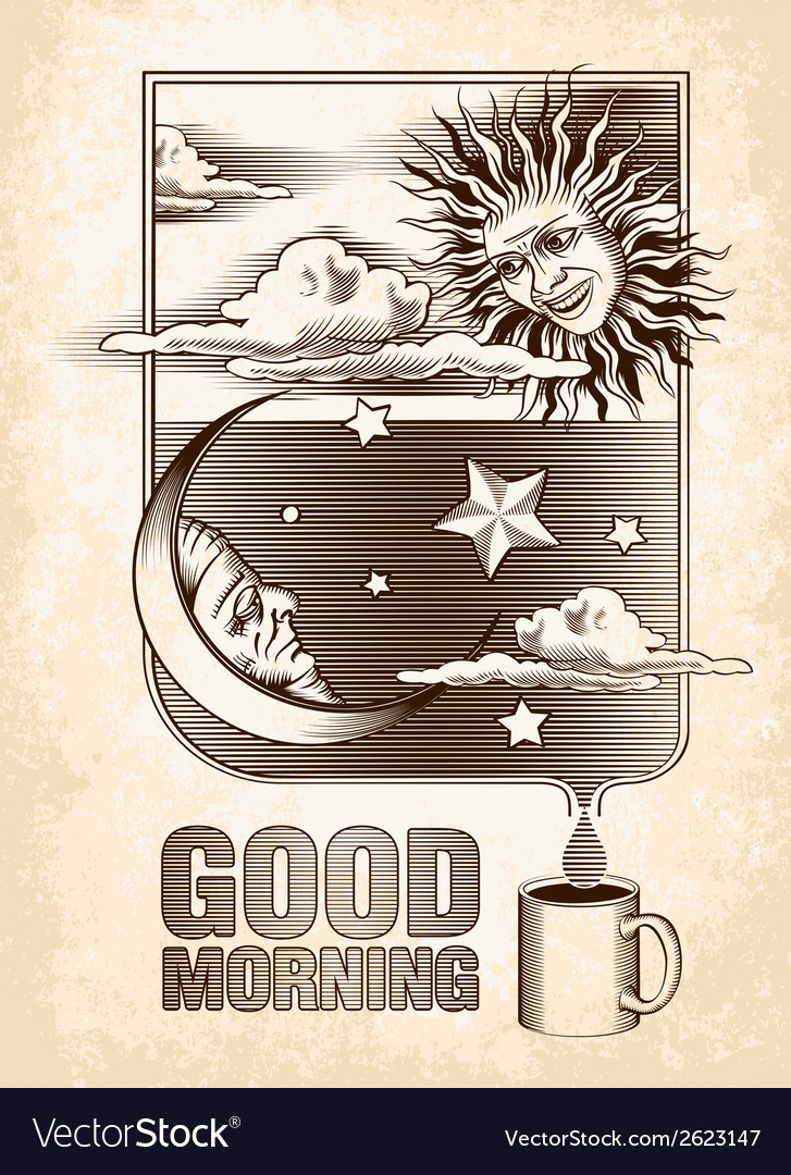 Vintage drawing of the sun moon and stars vector | Price: 1 Credit (USD $1)