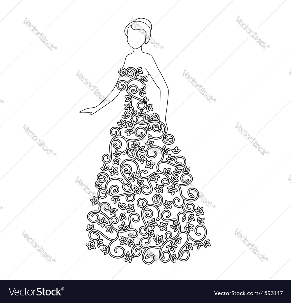 Woman in floral dress - fashion vector | Price: 1 Credit (USD $1)