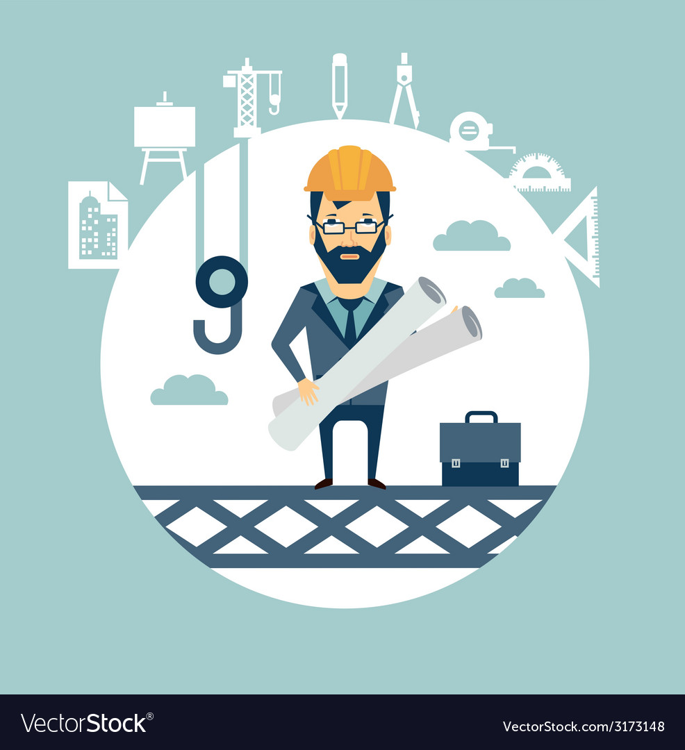 Architect stands high on a building site and vector | Price: 1 Credit (USD $1)