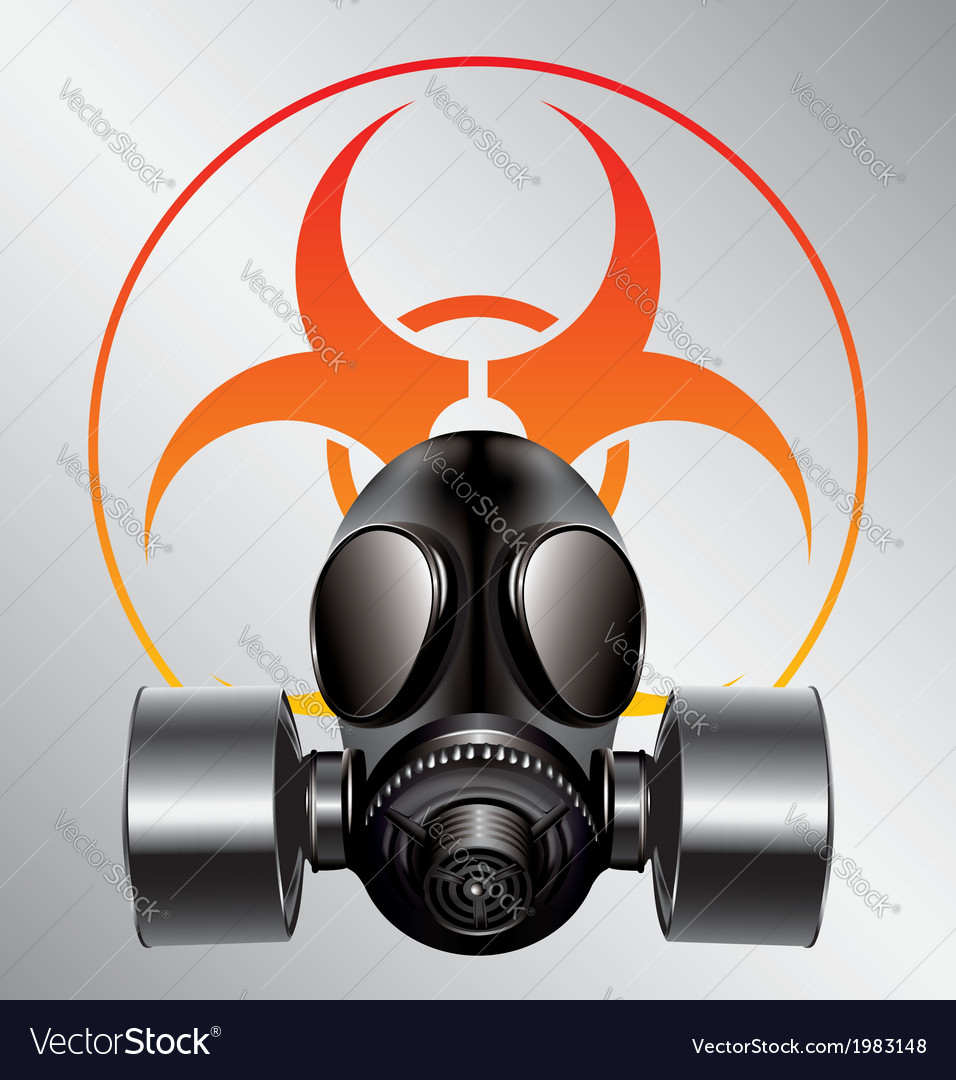 Black gas mask with biohazard symbol vector | Price: 1 Credit (USD $1)