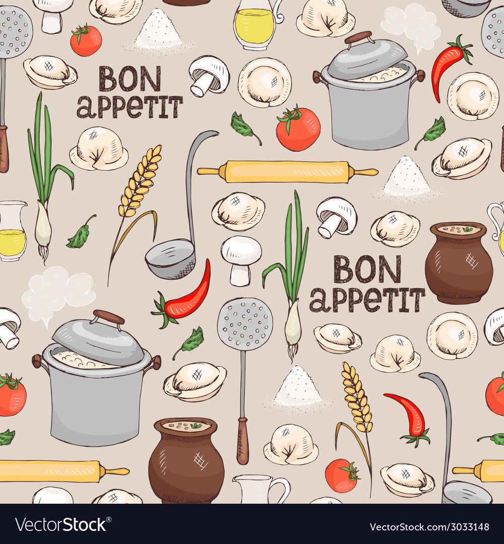 Bon appetit seamless background pattern vector | Price: 1 Credit (USD $1)