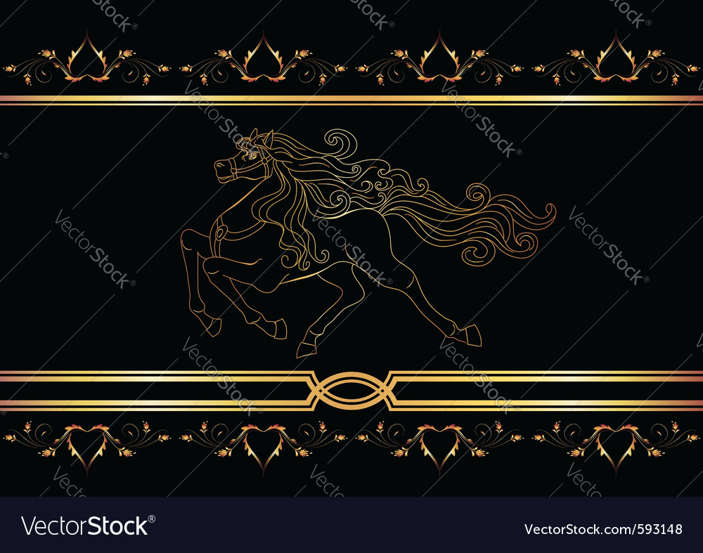 Golden horse vector | Price: 1 Credit (USD $1)