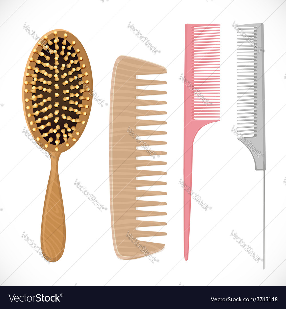 Hair combs set isolated on a white background vector | Price: 3 Credit (USD $3)