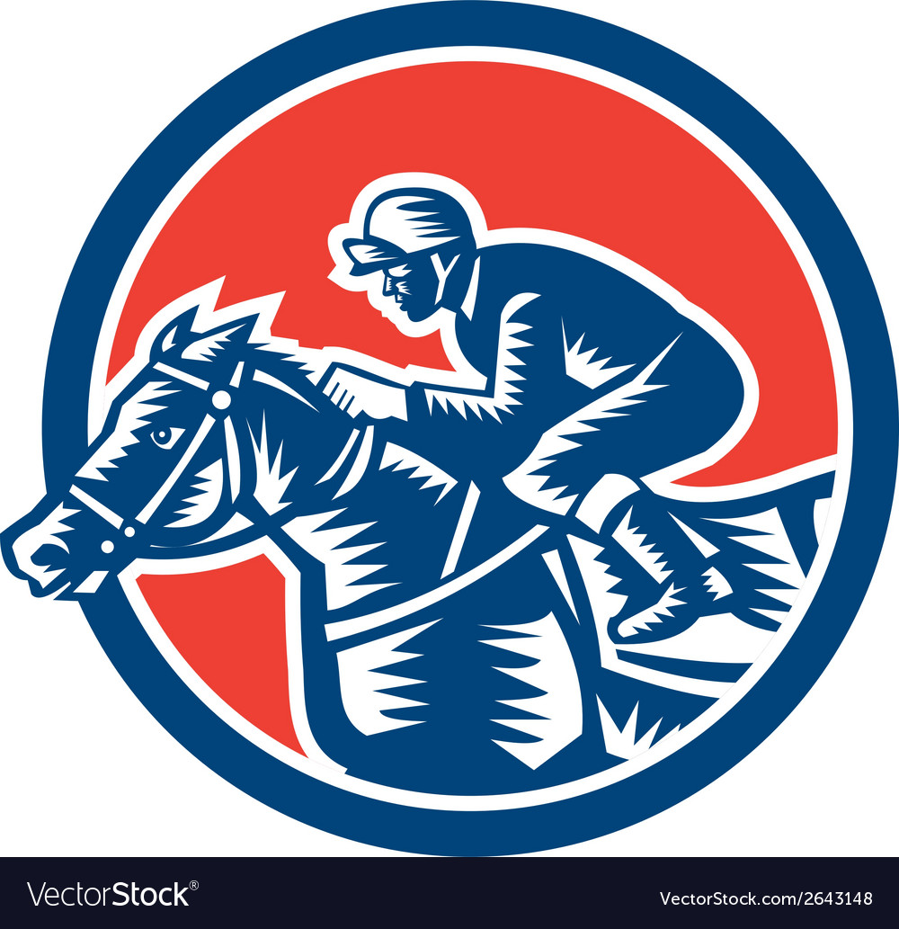 Jockey horse racing circle woodcut retro vector | Price: 1 Credit (USD $1)