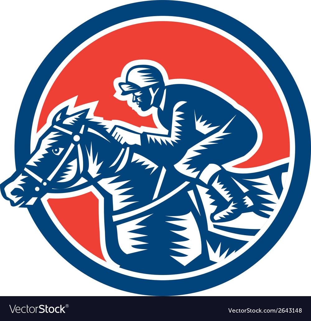 Jockey horse racing circle woodcut retro vector | Price: 1 Credit (USD $1)
