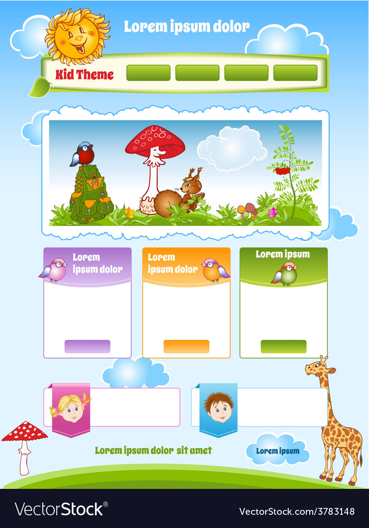 Kid theme for web template vector | Price: 3 Credit (USD $3)