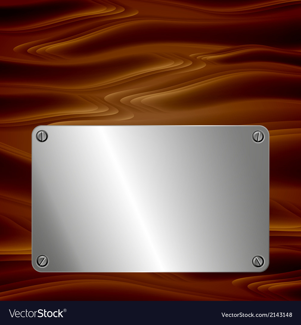 Metal plate on wooden surface vector | Price: 1 Credit (USD $1)