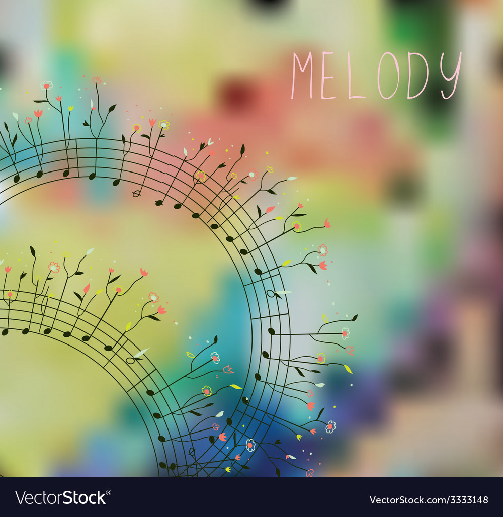 Musical background with note flowers vector | Price: 1 Credit (USD $1)