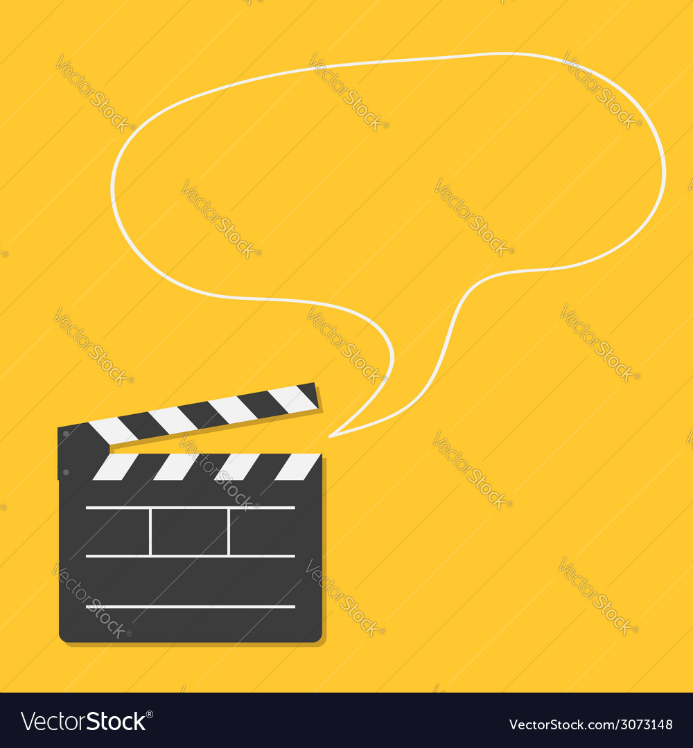 Open movie clapper board with speech bubble vector | Price: 1 Credit (USD $1)