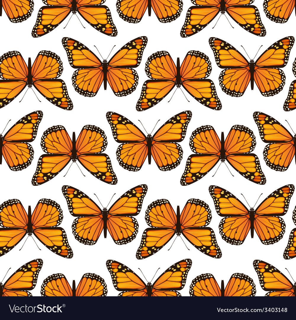 Seamless pattern with monarch butterflies vector | Price: 1 Credit (USD $1)