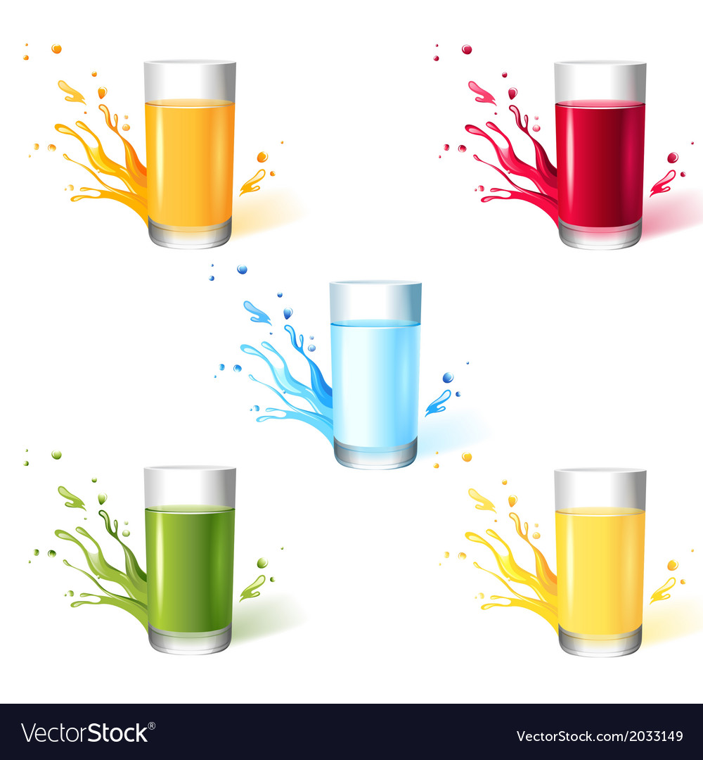 5 glasses with different drinks vector | Price: 1 Credit (USD $1)