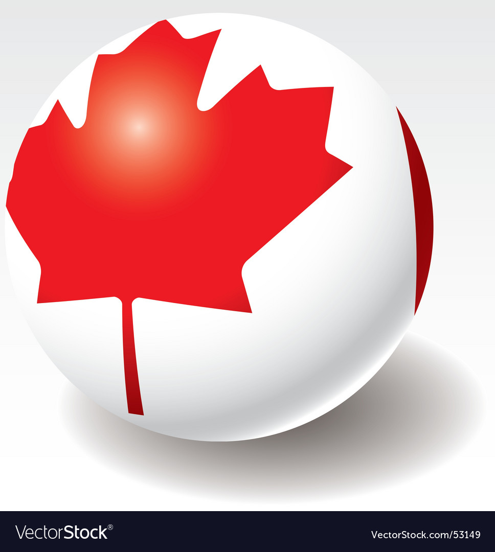 Canada flag on ball vector | Price: 1 Credit (USD $1)