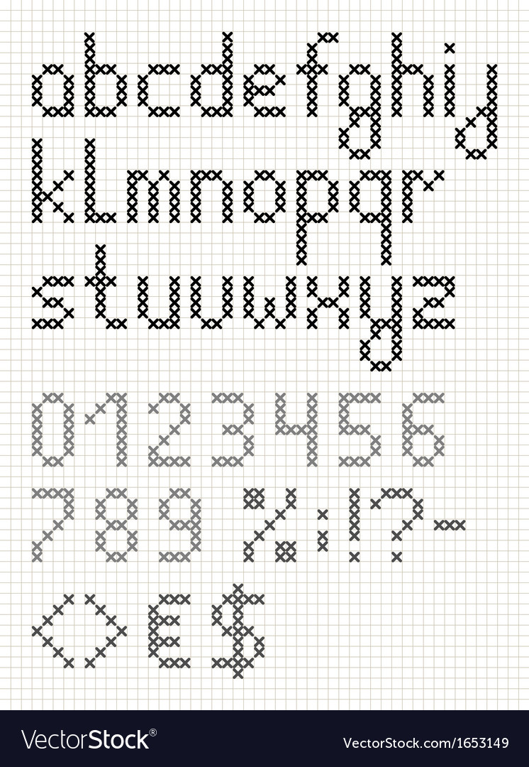 Cross stitch lowercase english alphabet vector | Price: 1 Credit (USD $1)