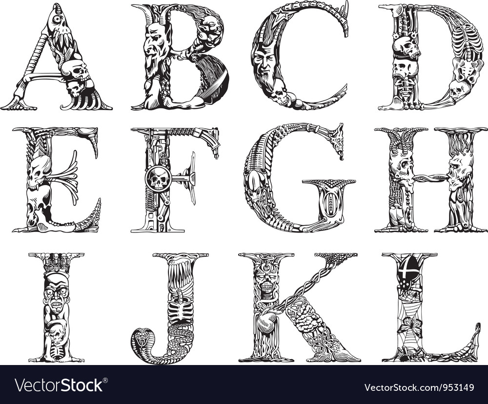 Death font vector | Price: 1 Credit (USD $1)
