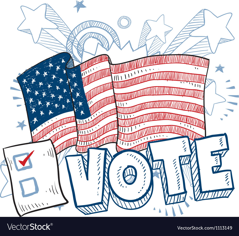 Doodle americana vote vector | Price: 1 Credit (USD $1)