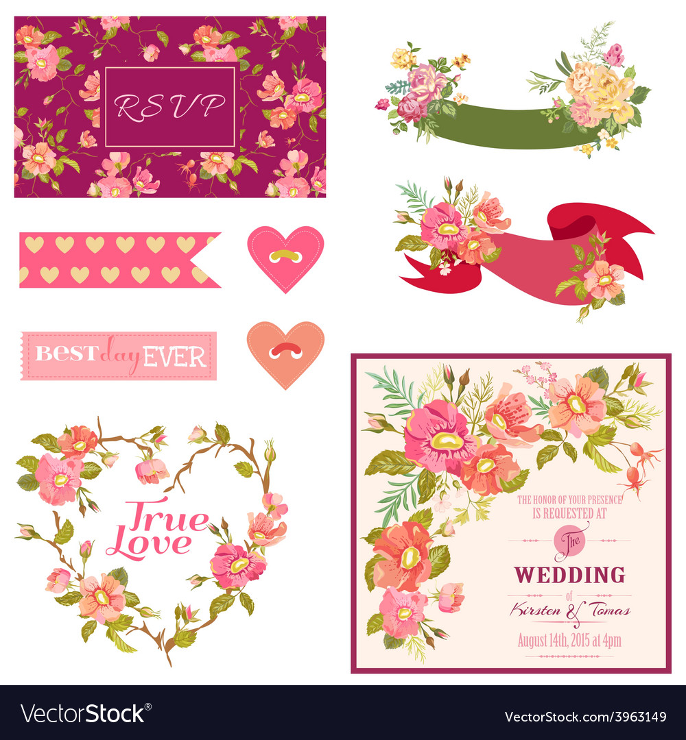 Floral wedding set - for wedding decoration vector | Price: 1 Credit (USD $1)