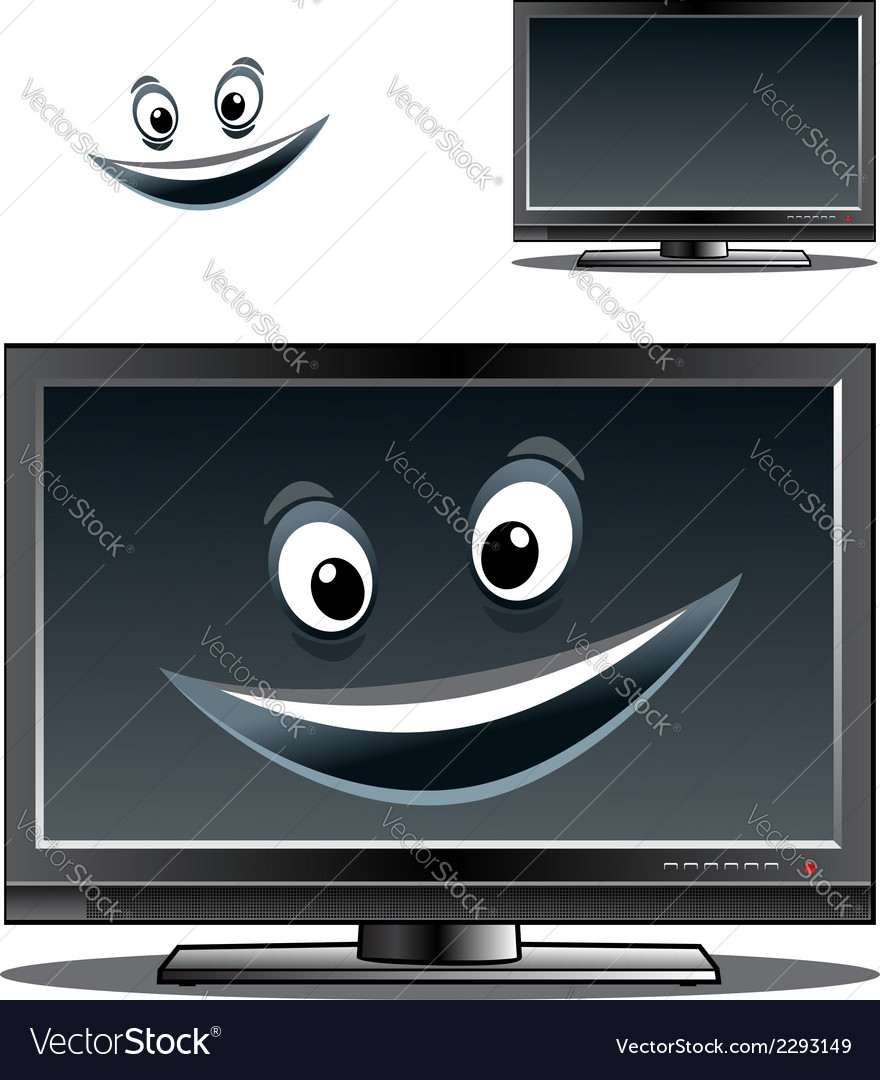 Happy computer monitor or tv scren vector | Price: 1 Credit (USD $1)