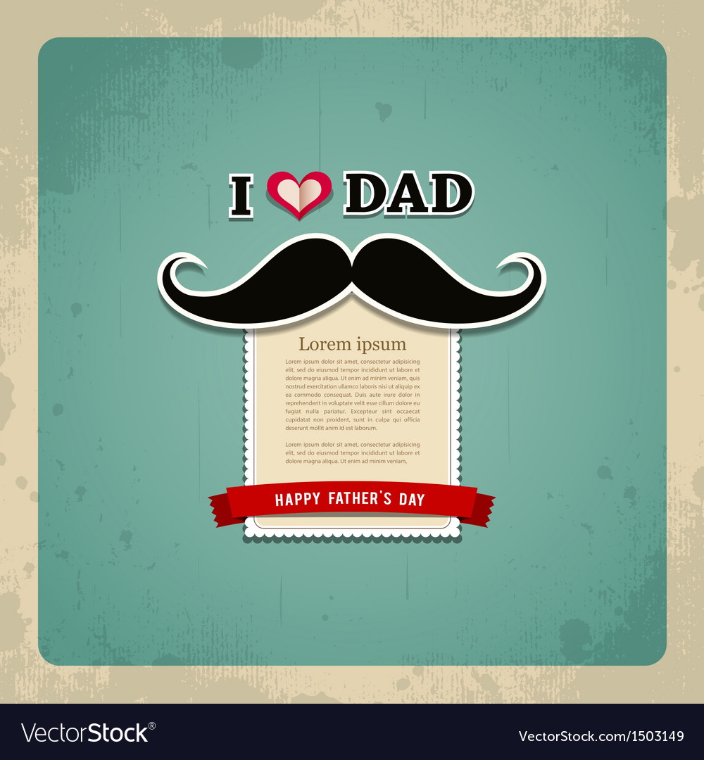 Happy fathers day vintage greeting card vector | Price: 1 Credit (USD $1)