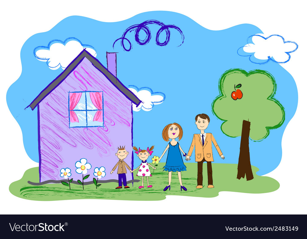 Kids sketch of happy family with house vector | Price: 1 Credit (USD $1)