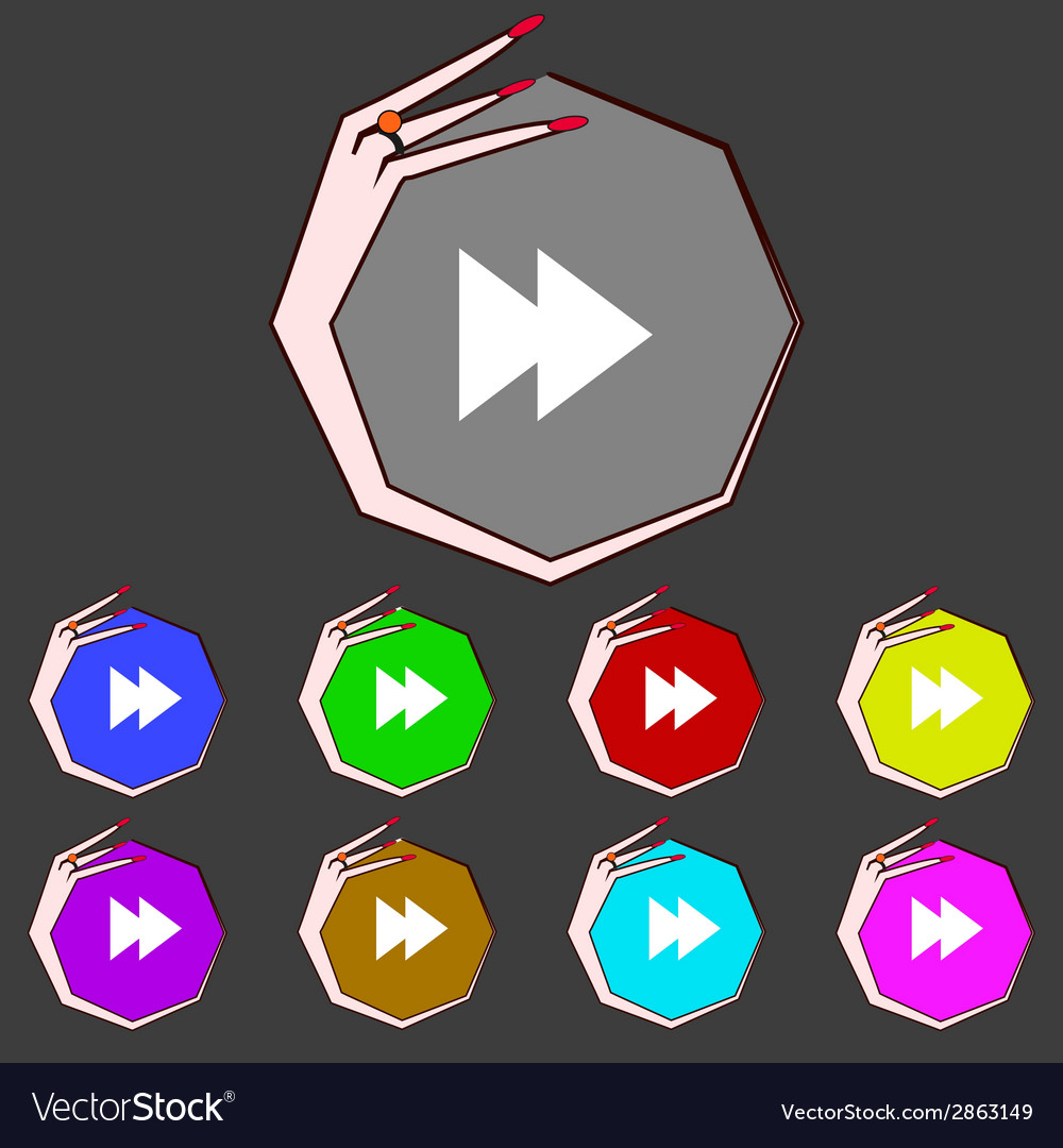 Multimedia sign icon player navigation symbol set vector | Price: 1 Credit (USD $1)