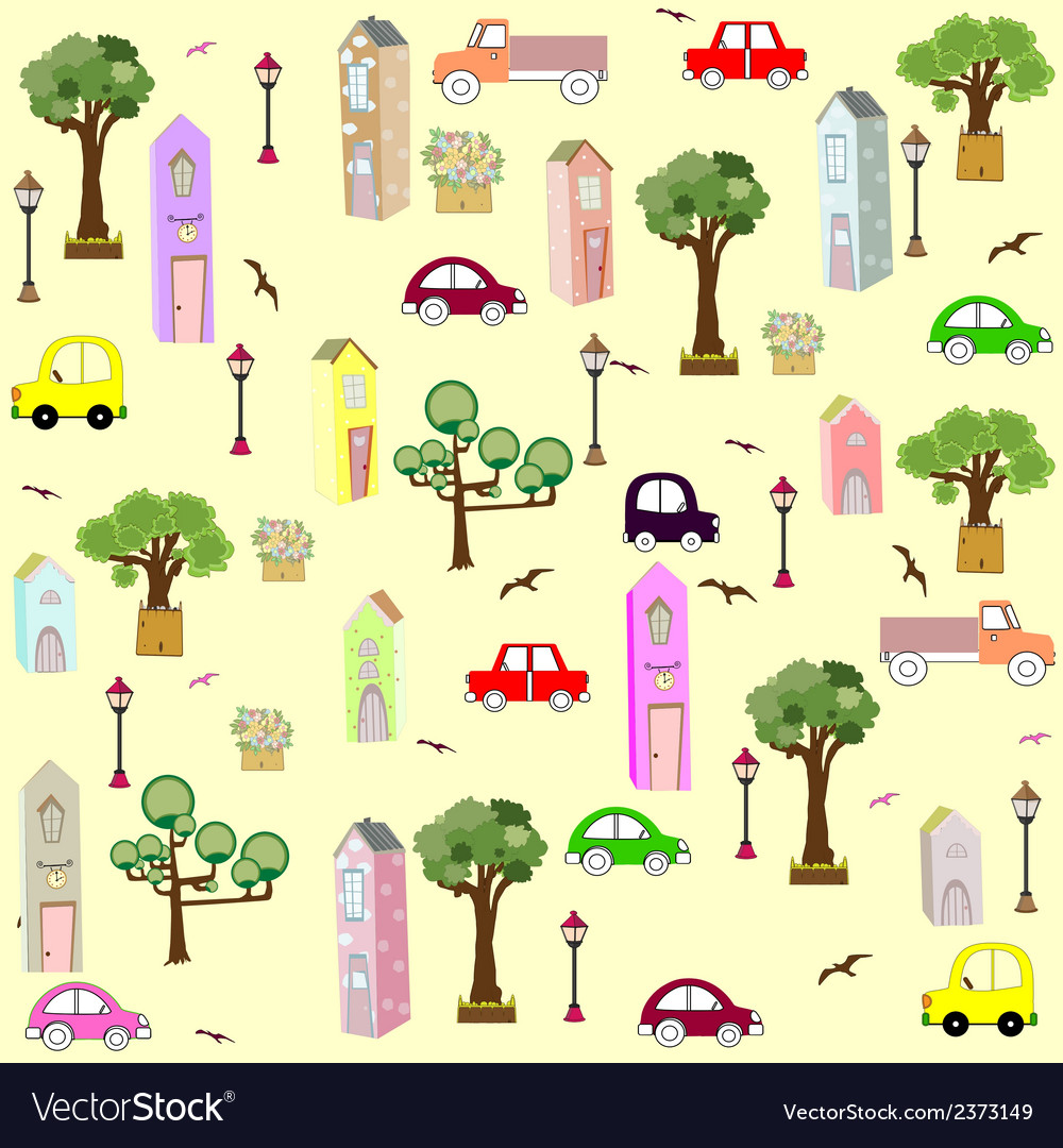 Seamless house pattern vector | Price: 1 Credit (USD $1)