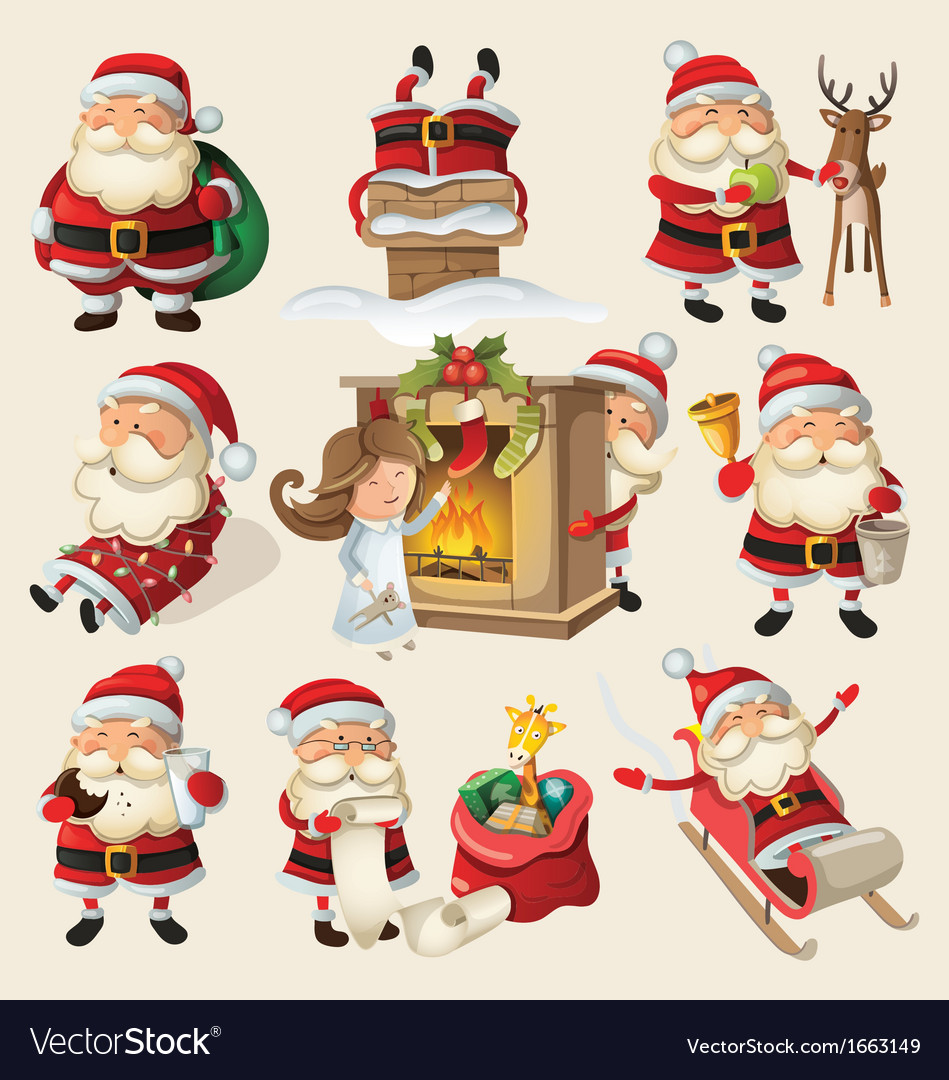 Set of santa clauses ready for christmas vector   Price: 3 Credit (USD $3)