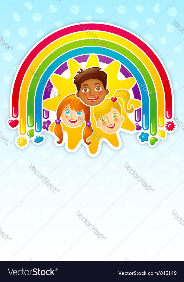Three happy children vector | Price: 3 Credit (USD $3)