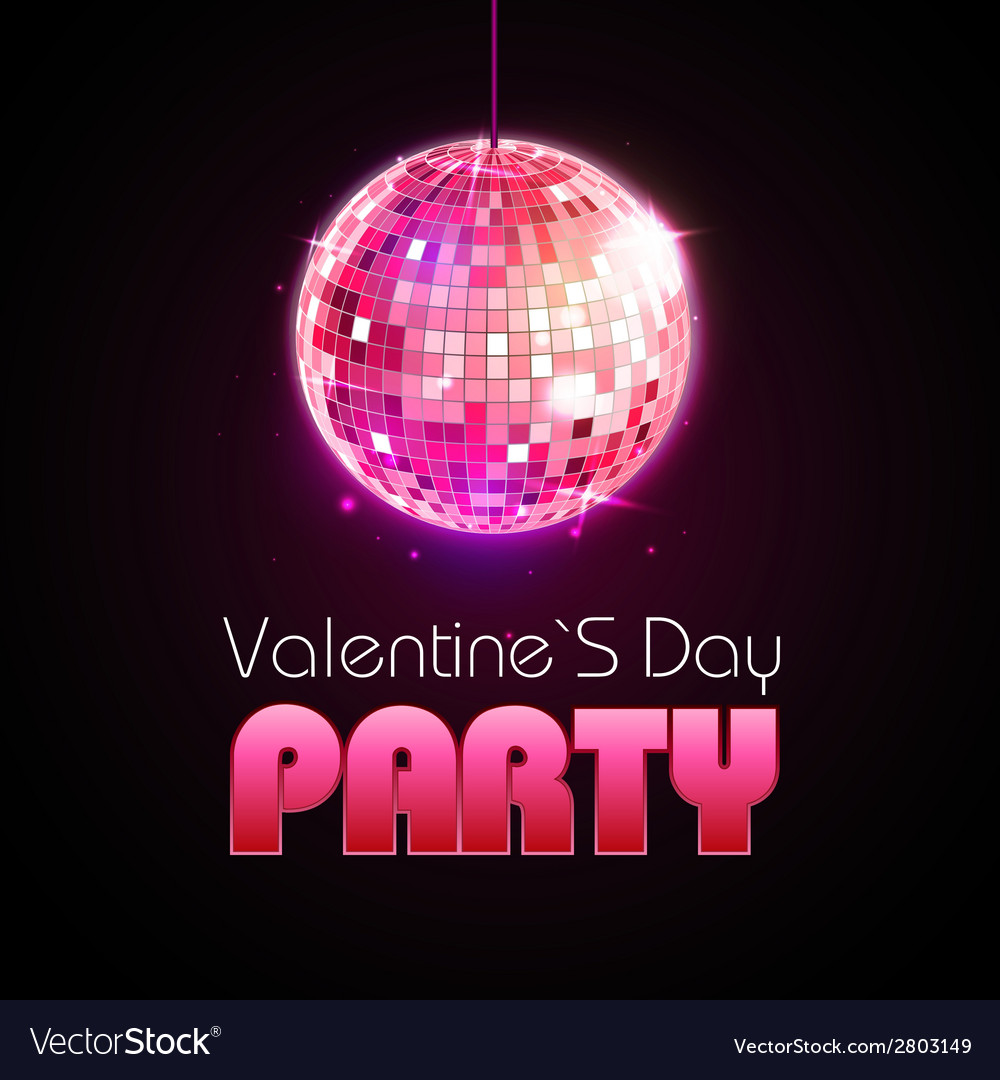 Valentine disco poster disco ball vector | Price: 1 Credit (USD $1)