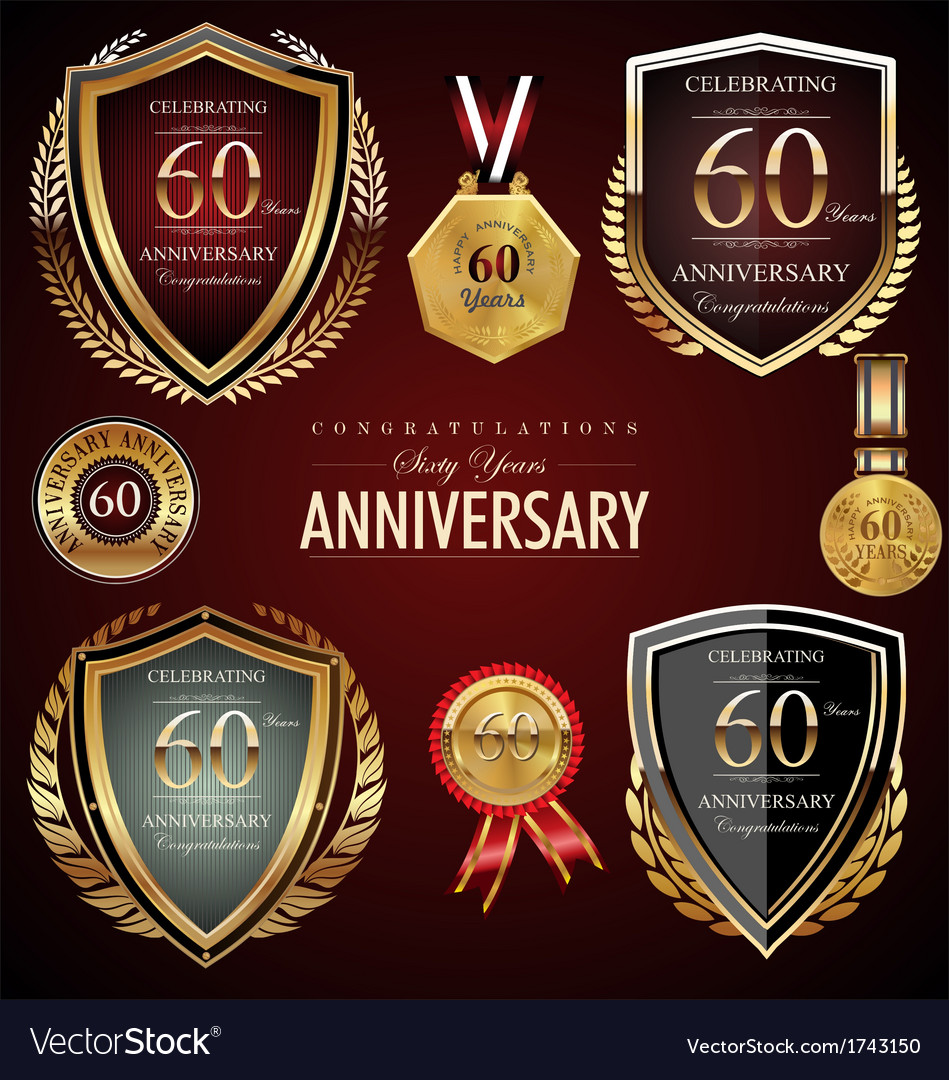 60 years anniversary labels vector | Price: 1 Credit (USD $1)
