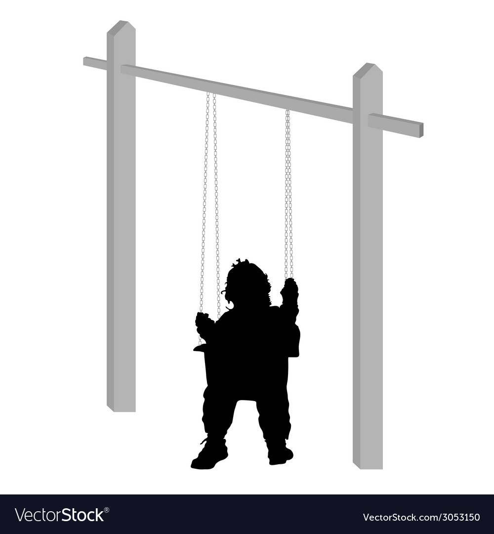 Baby on a swing silhouette vector | Price: 1 Credit (USD $1)
