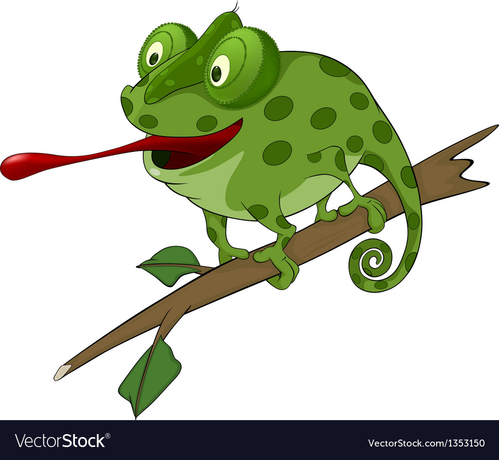 Big green chameleon cartoon vector | Price: 1 Credit (USD $1)
