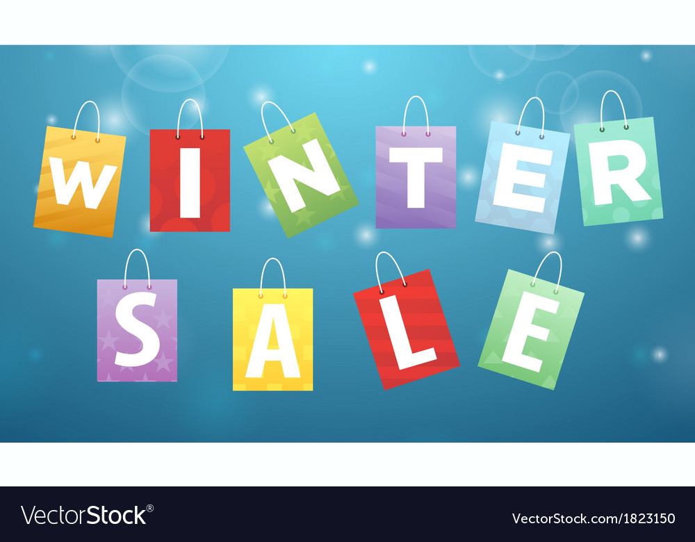 Caption winter sale on packages vector | Price: 1 Credit (USD $1)