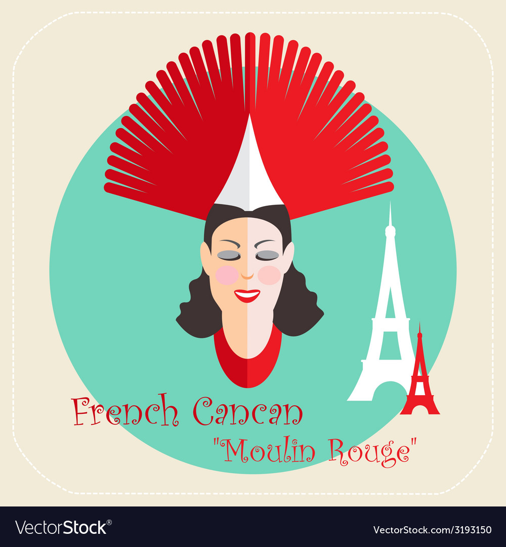 French cabaret cancan moulin rouge icon vector | Price: 1 Credit (USD $1)
