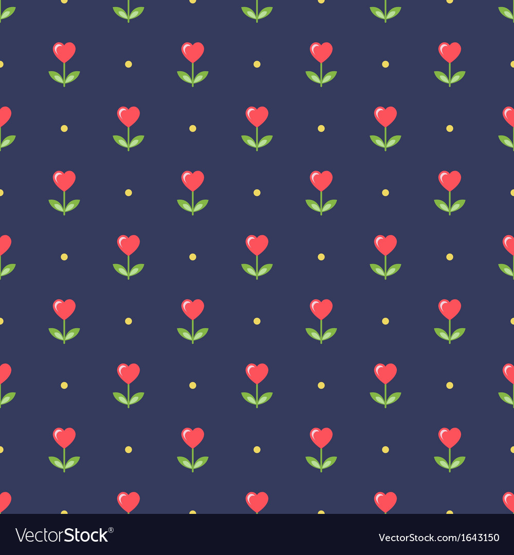 Neat seamless pattern with heart-shape flowers vector | Price: 1 Credit (USD $1)