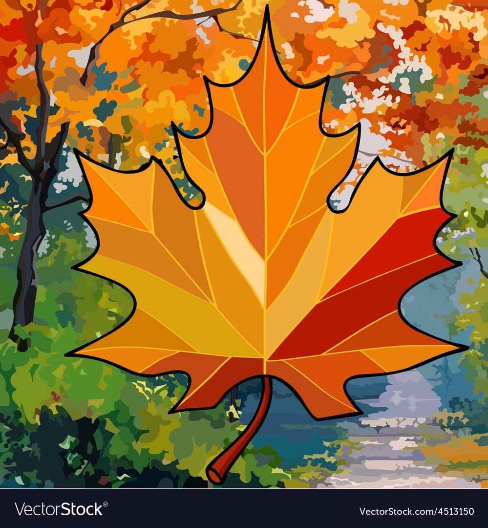 Orange maple leaf on autumn background vector   Price: 3 Credit (USD $3)