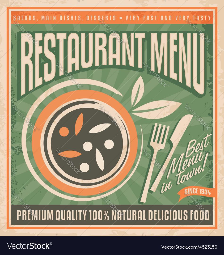 Retro restaurant menu poster design vector | Price: 1 Credit (USD $1)