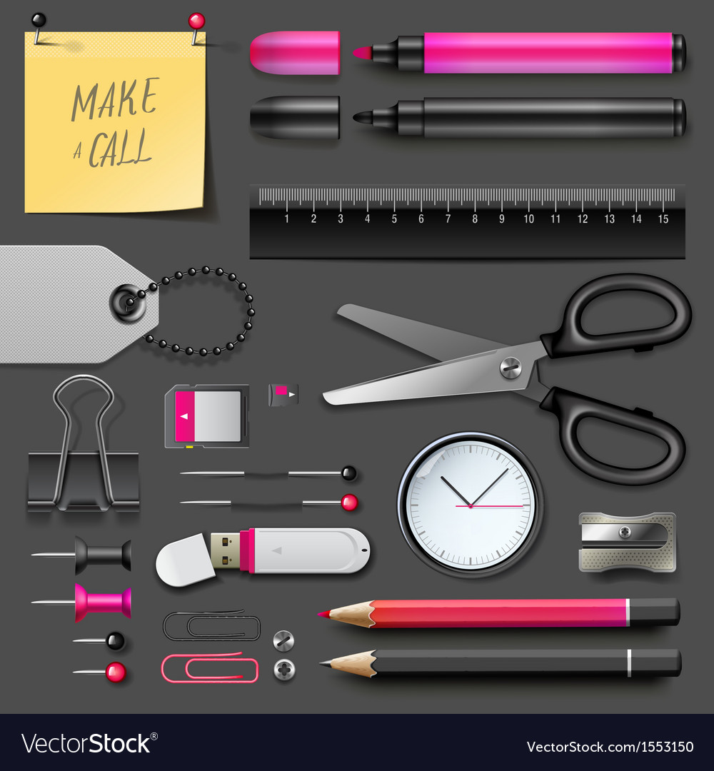 Set of office supplies vector | Price: 1 Credit (USD $1)