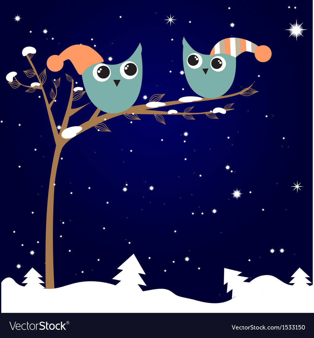 Simple card of two funny cartoon owls with vector | Price: 1 Credit (USD $1)