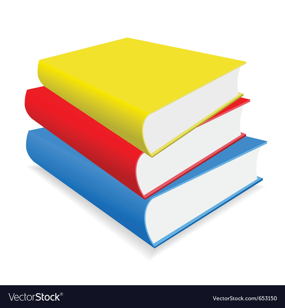 Three multicoloured books lay on a white backgroun vector | Price: 1 Credit (USD $1)