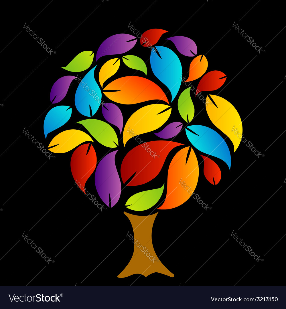 Tree with colorful leaves vector | Price: 1 Credit (USD $1)