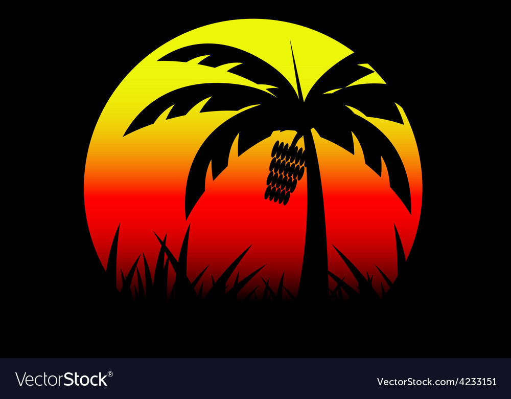 Banana tree and sunset vector | Price: 1 Credit (USD $1)