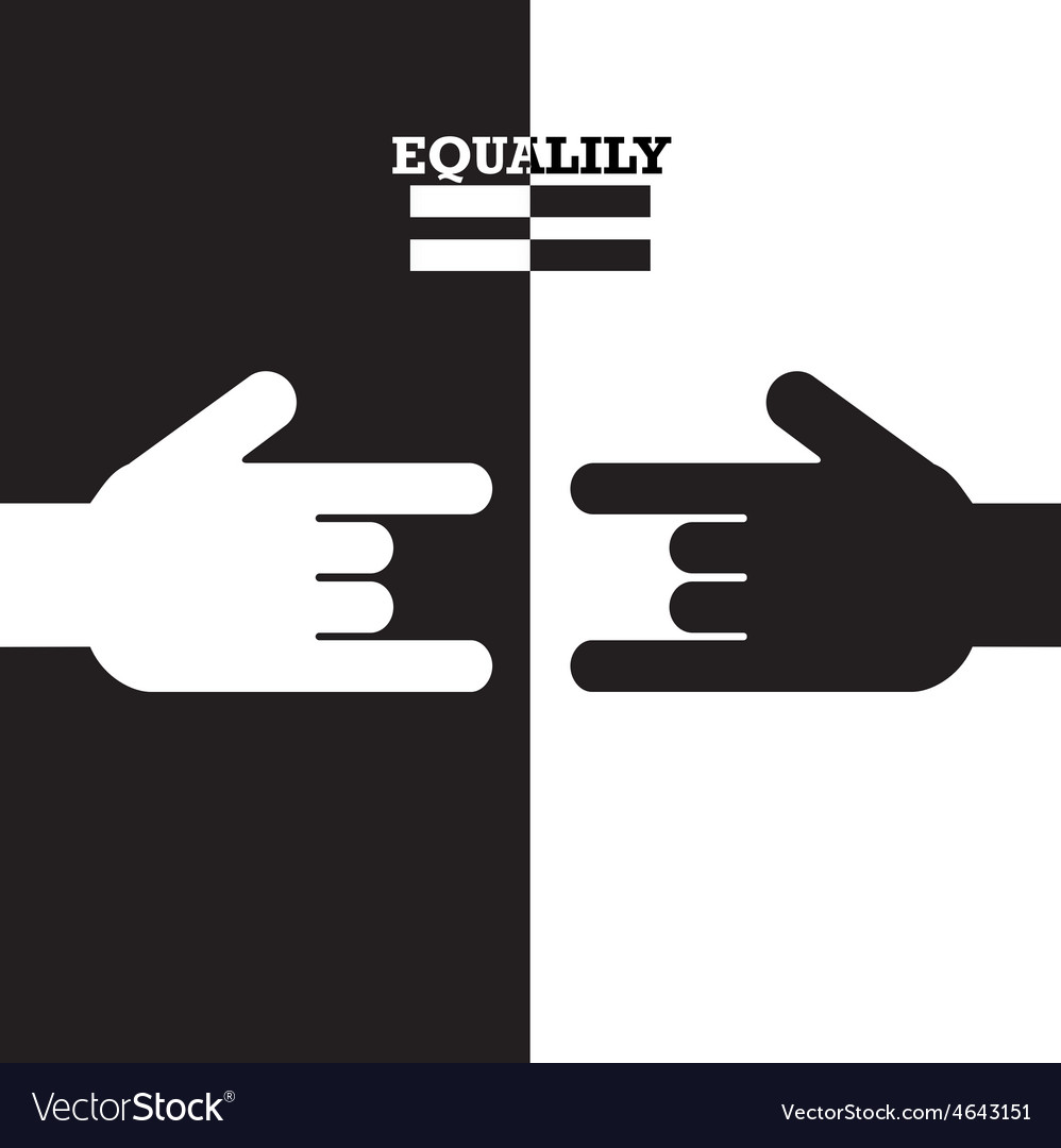 Black and white hand with equality concept vector | Price: 1 Credit (USD $1)