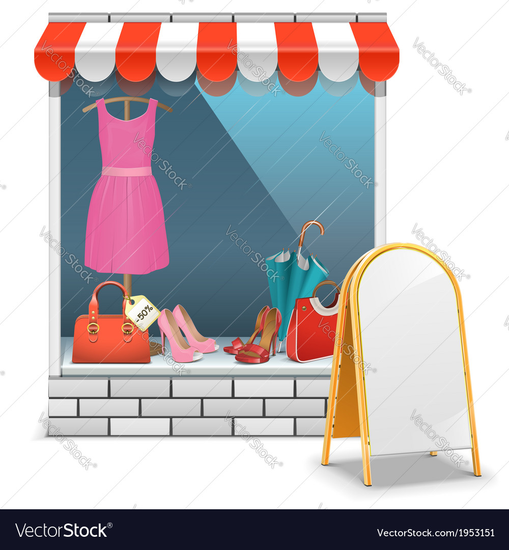 Boutique with billboard vector | Price: 1 Credit (USD $1)