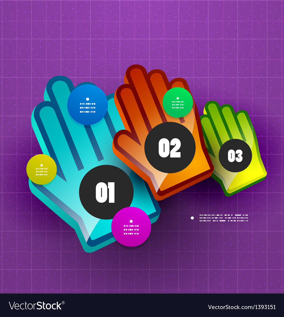 Colorful hand step options banner template vector | Price: 1 Credit (USD $1)