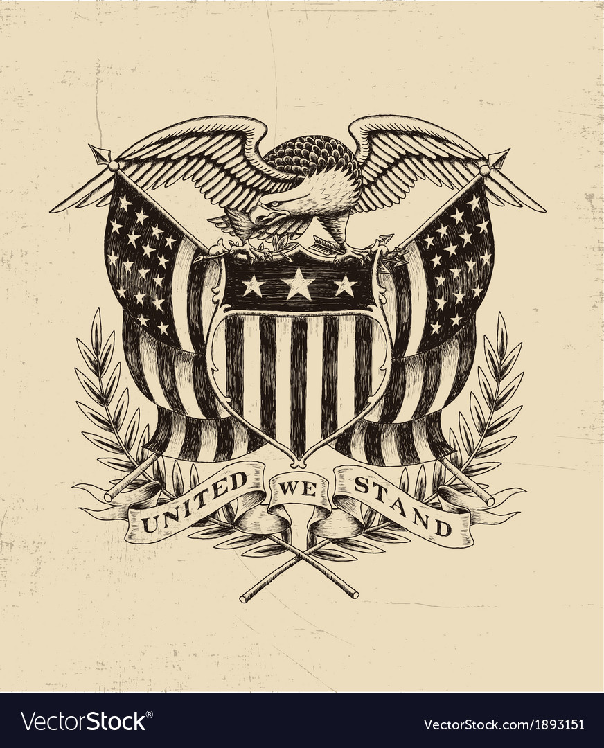 Hand drawn american eagle linework vector | Price: 3 Credit (USD $3)