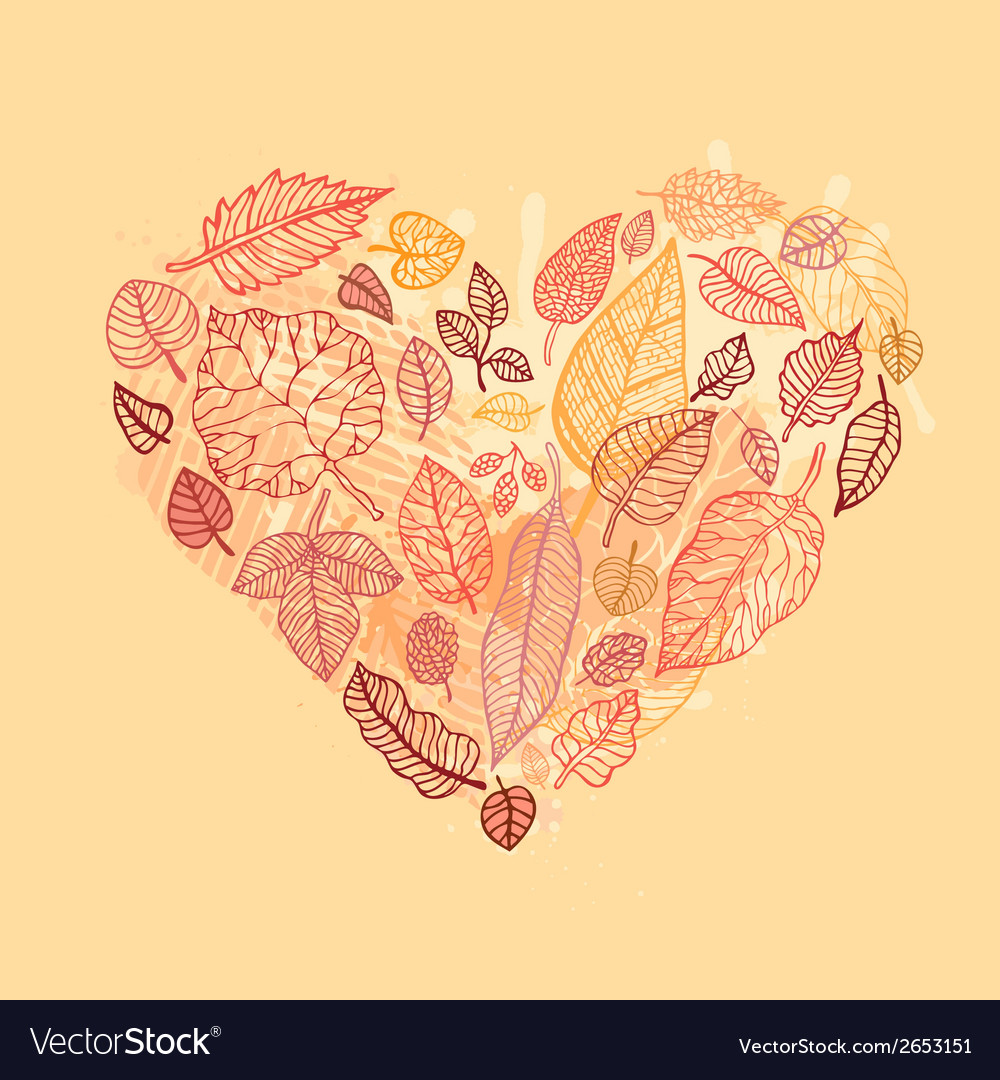 Heart of the autumn leaves vector | Price: 1 Credit (USD $1)