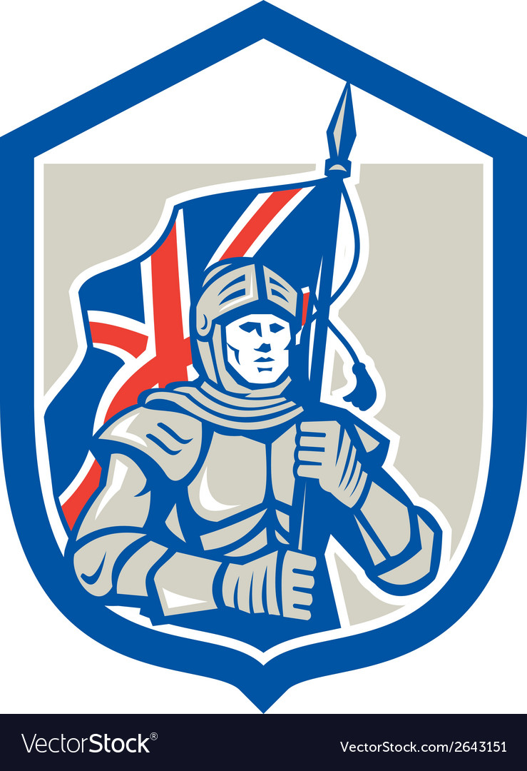 Knight holding british flag shield retro vector | Price: 1 Credit (USD $1)
