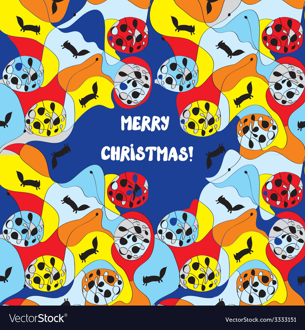 Merry christmas card - whimsical design vector | Price: 1 Credit (USD $1)